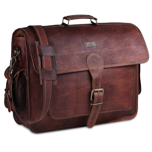 Genuine Leather Messenger Full Grain Messenger Briefcase Bag - Brown