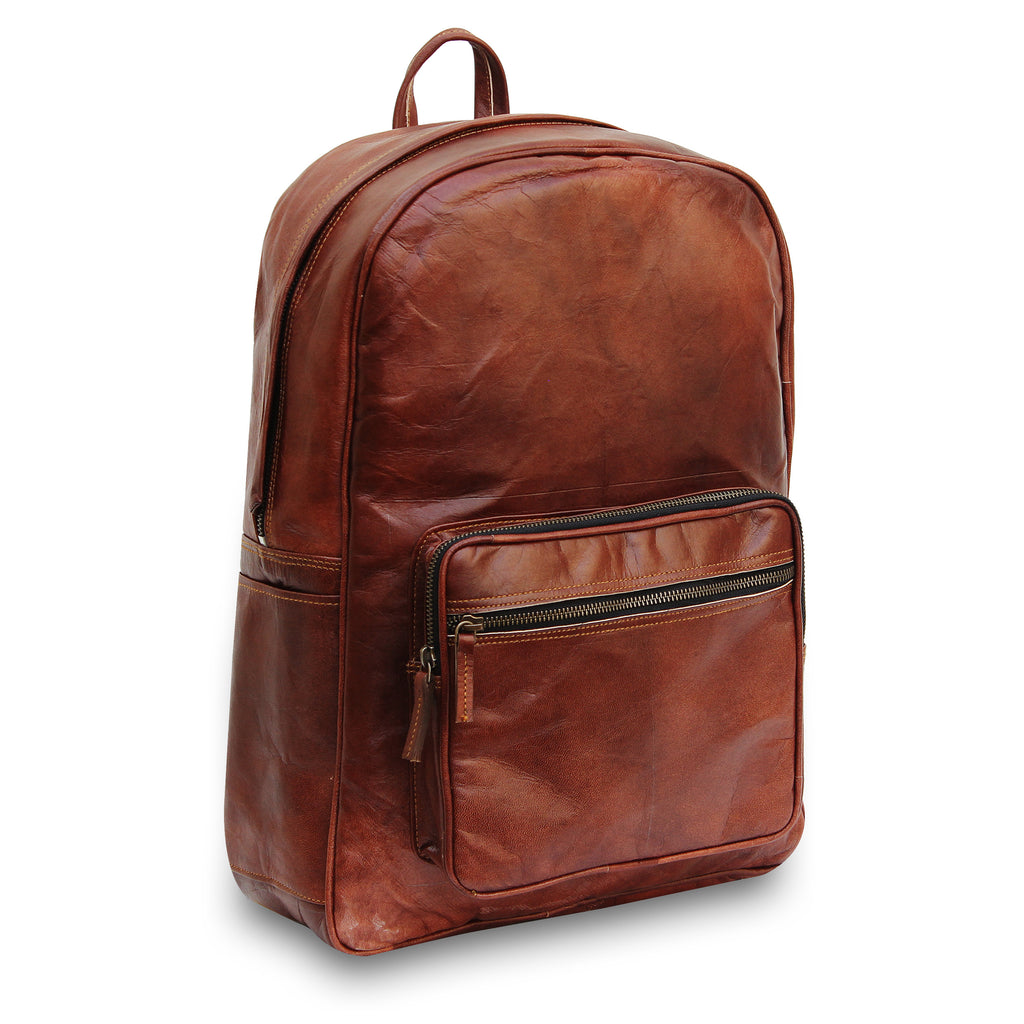 Vintage Brown Leather Laptop Backpack