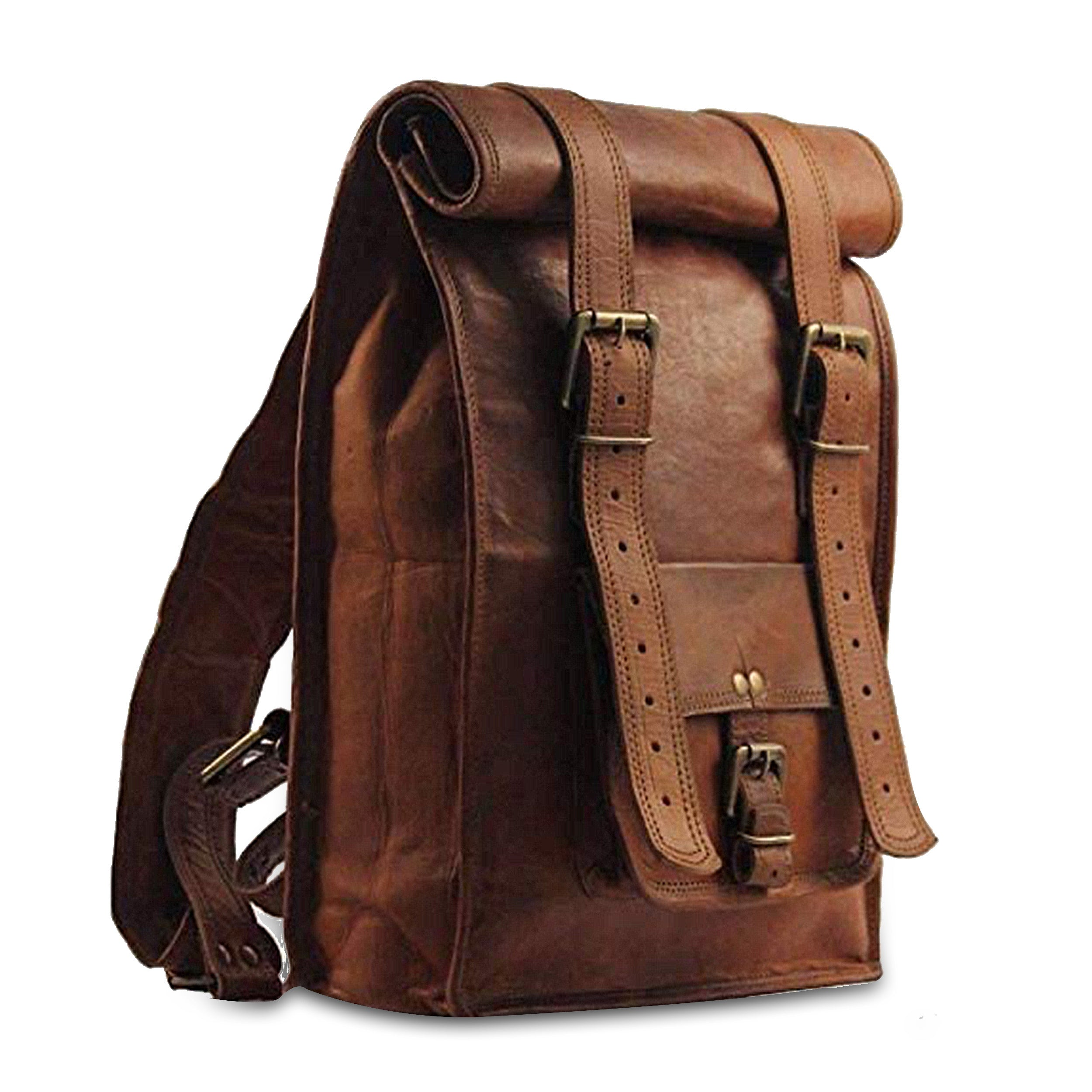 Vintage Roll Top Leather Backpack