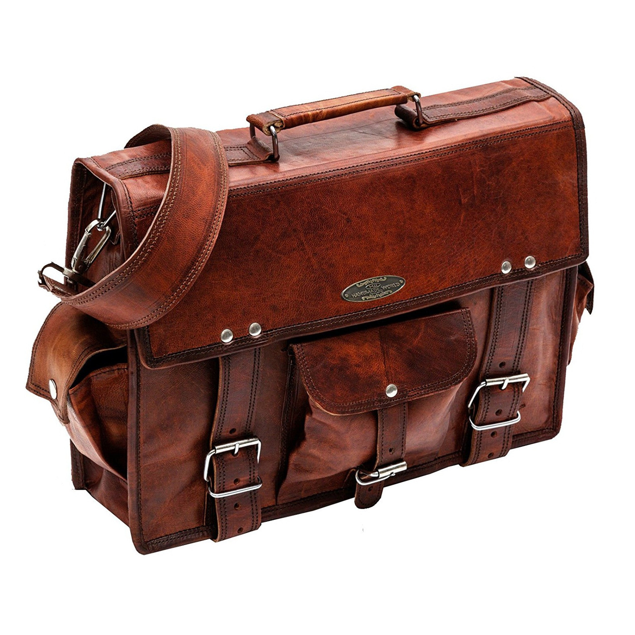 Vintage Brown Leather Briefcase Bag