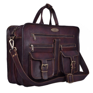 Large Leather Messenger Briefcase Bag with Top Handle