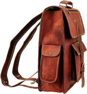 Vintage Rustic Leather Full Grain Backpack with padded Shoulder strap and Top Handle