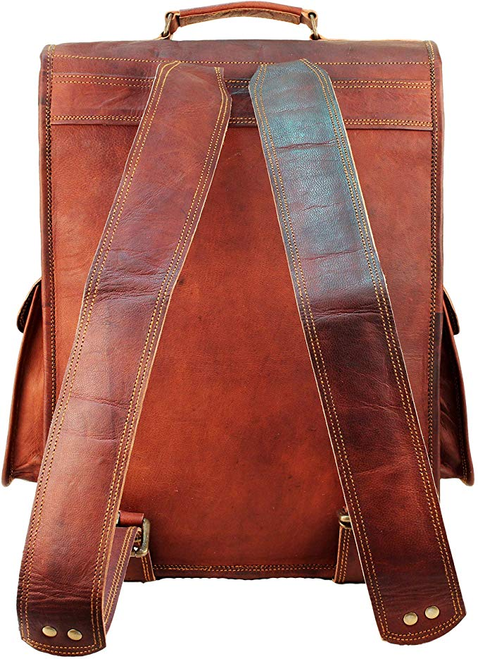 Large Leather Backpack with side pockets for college and casual use