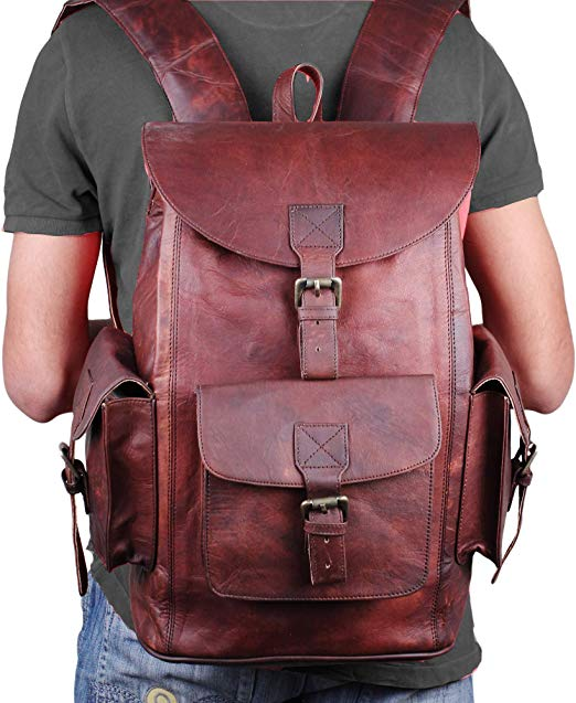 Large Leather Travel Backpack by Hulsh