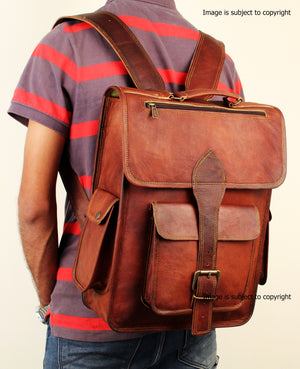 Brown Vintage Leather Rucksack Backpack For Men Women