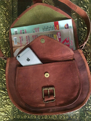 Women's Brown Leather Crossbody Bag 13 Inch