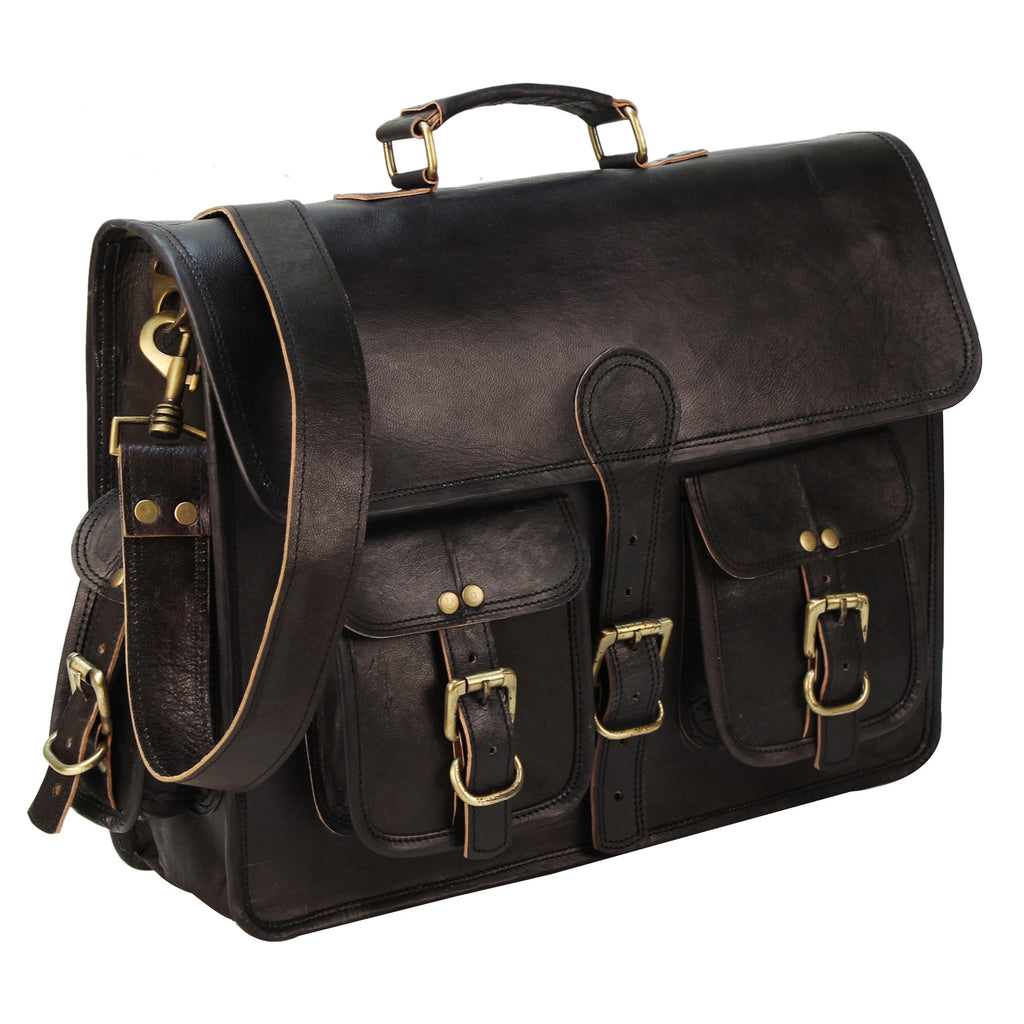 Black Leather Messenger Bag with Brass Buckle