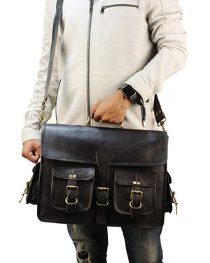 Vintage Black Leather Briefcase Laptop Messenger Bag