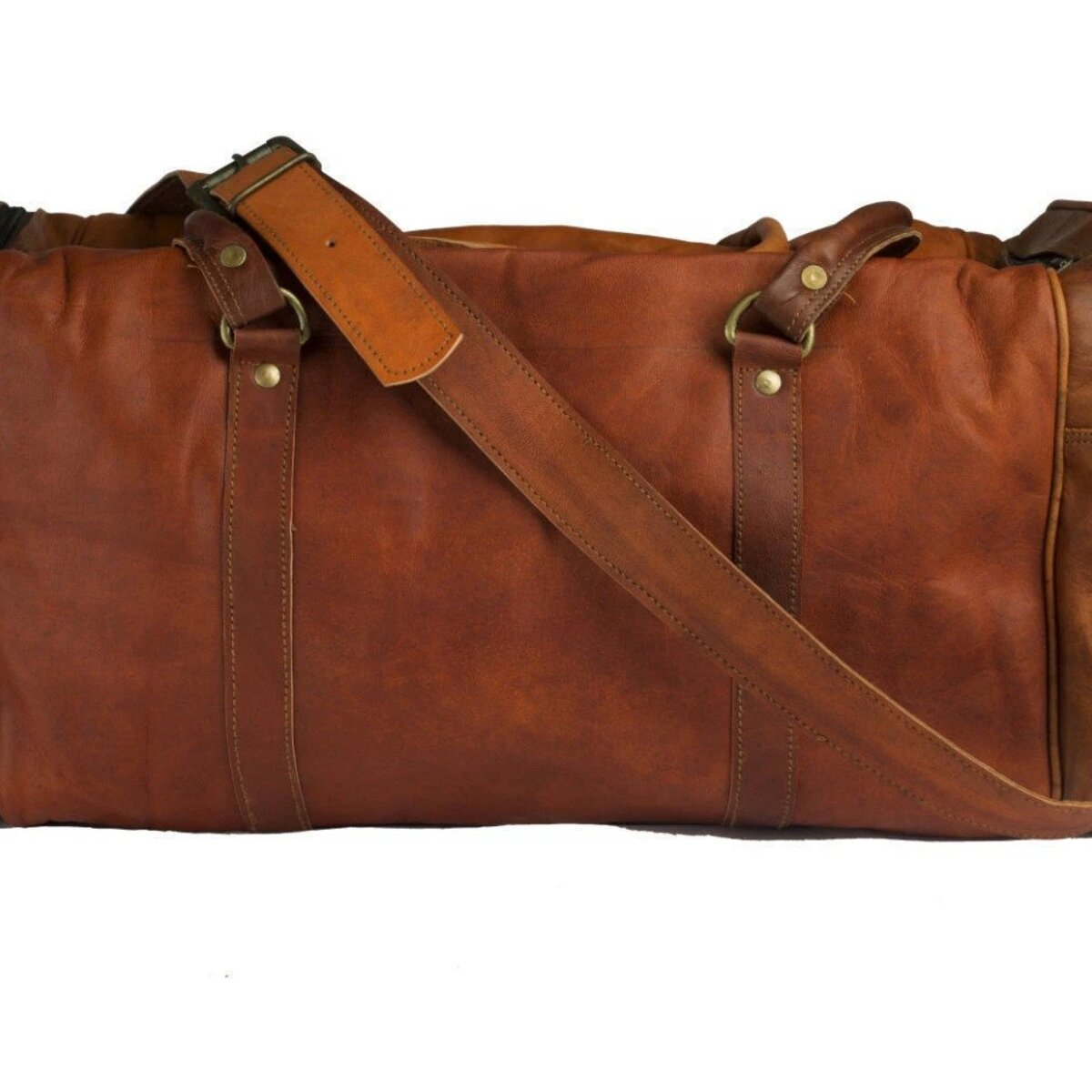 Large Leather Overnight Weekender Bag with Adjustable Strap