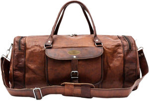 Large Rustic Leather Round Weekender Duffle Bag with Top Handle