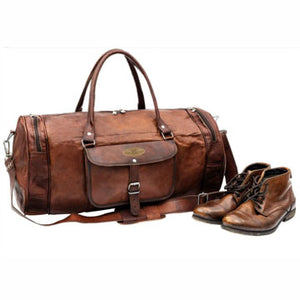 Vintage Large Leather Round Duffle Weekender Bag with Shoe Pocket