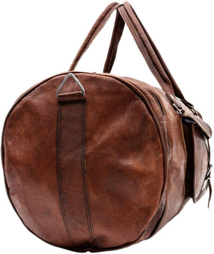 Round Leather Duffle Bag with External Pockets