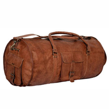 Genuine Rustic Leather Messenger Bag with Top Handle and external pockets