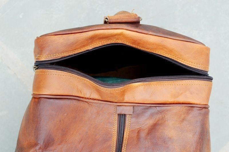 Square Leather Duffel Bag with large pockets