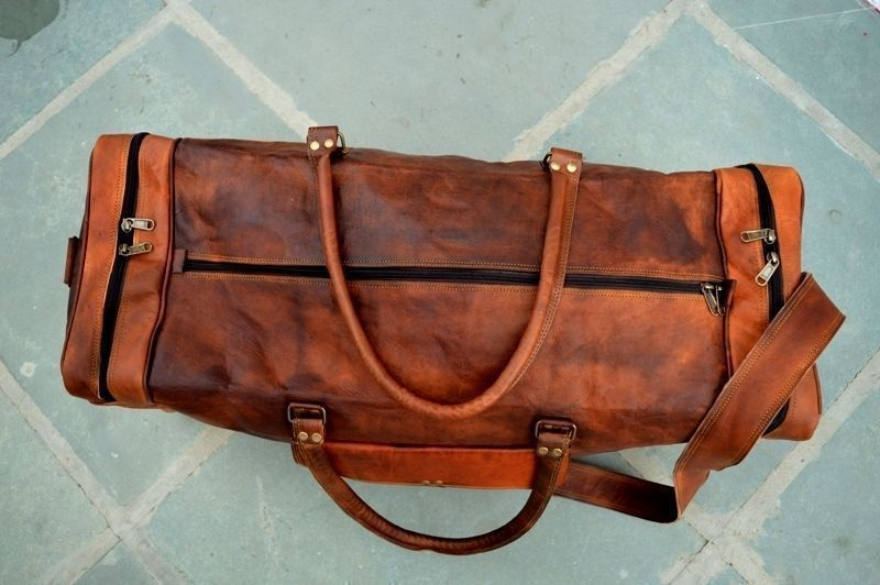 Large Square Leather Duffel Bag with Top Handle