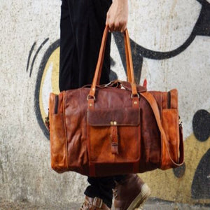 Vintage Large Leather Square Duffle Bag