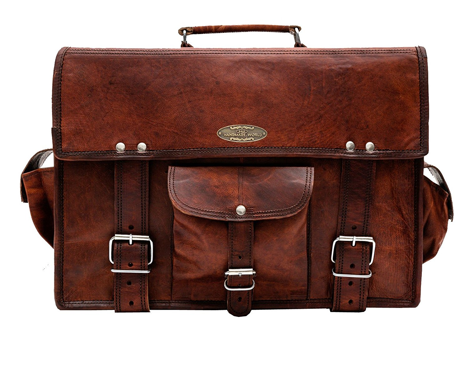 15 inch brown leather messenger bag