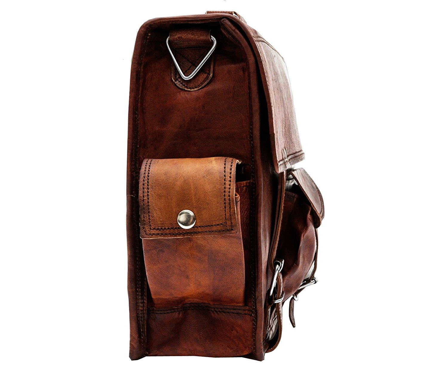 Brown Leather Briefcase Bag with side pockets