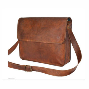 Genuine Leather Half Flap Brown Leather Bag