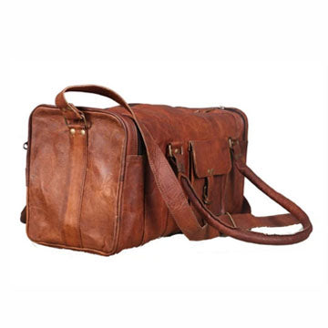Genuine Leather Vintage Square Travel Duffle Bag