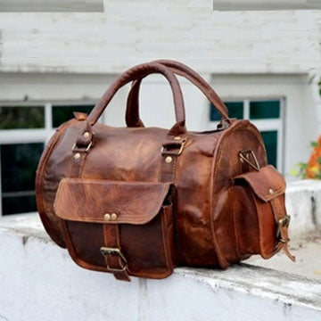 Vintage Overnight Weekend Leather Duffle Bag