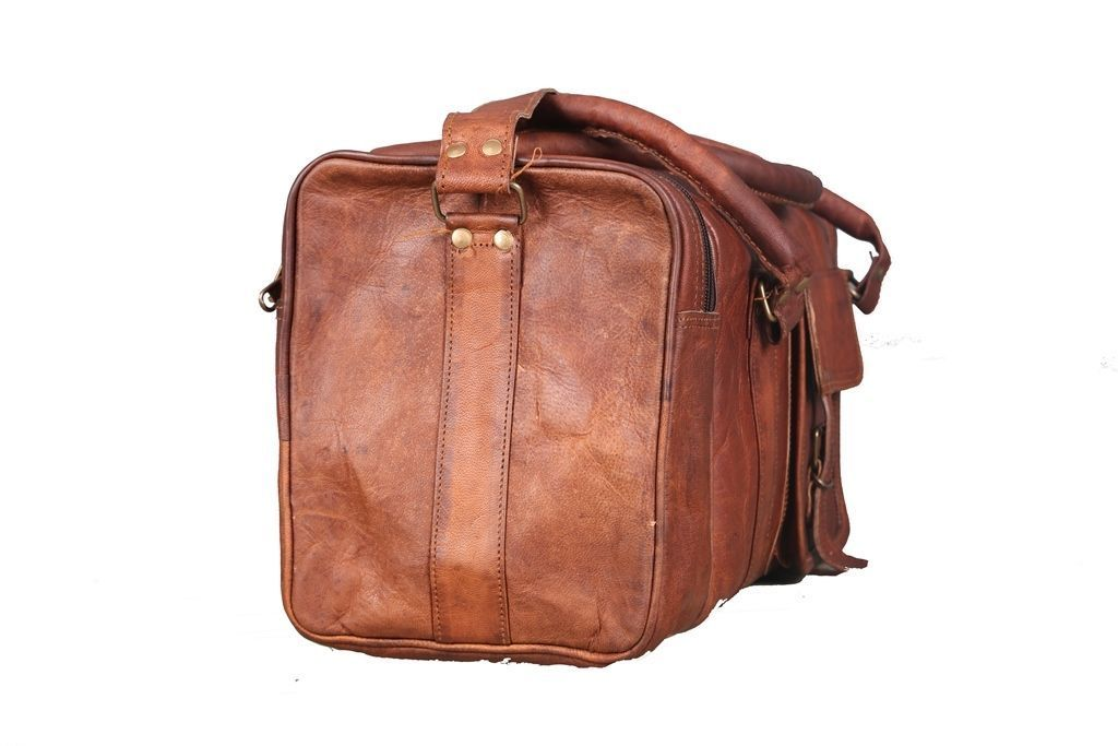 Brown Large Leather Duffel Bag with Top Handle and adjustable strap