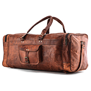 Large Full Grain Leather Messenger Bag with External Pocket and Top Handle