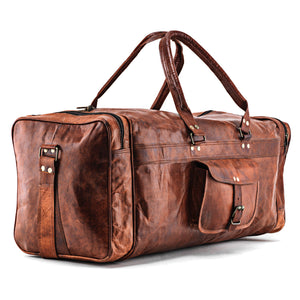 Full Grain Large Leather Square Duffle Bag with Top Handle