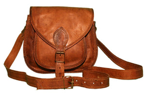 Vintage Brown Leather Crossbody Bag 13 Inch