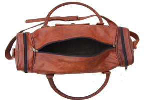 Rustic Vintage Brown Large Leather Duffel Bag with Top Handle