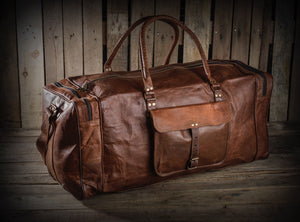 Rustic Duffle Weekender Bag with Top Handle