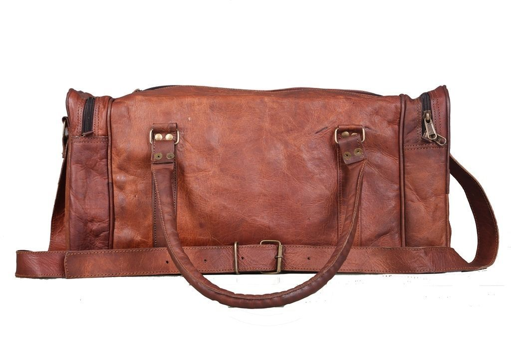 Vintage Brown Large Leather Duffel Bag with adjustable strap
