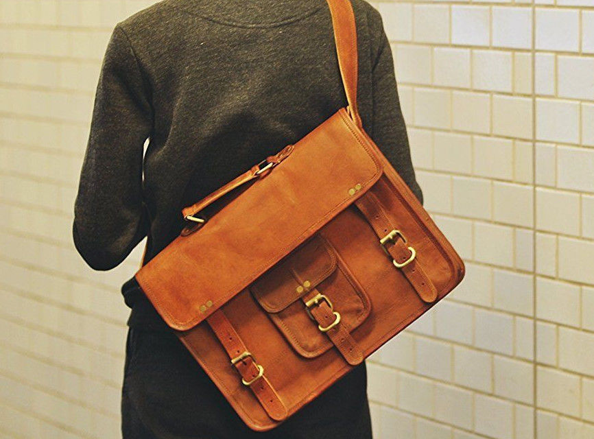 15/16/18 Inches Leather Satchel Messenger Office Work Travel Bag