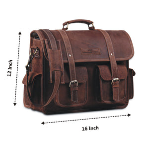 16 inch Buffalo Leather Briefcase Bag by Hulsh