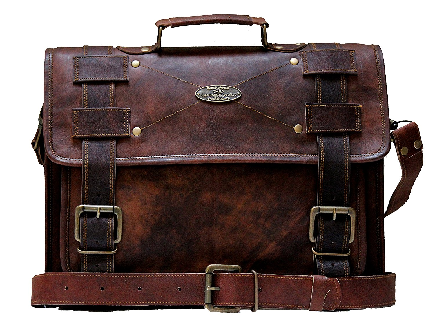 Distressed Brown Leather Briefcase Laptop Computer Satchel Bag 15/16/18 Inch