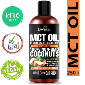 Luxura Sciences MCT Oil Organic 250 ml, MCT Keto Oil 100% Premium Grade A,Unsweetened,Non-GMO, Gluten Free for Weight and Energy Management, Topical usage.
