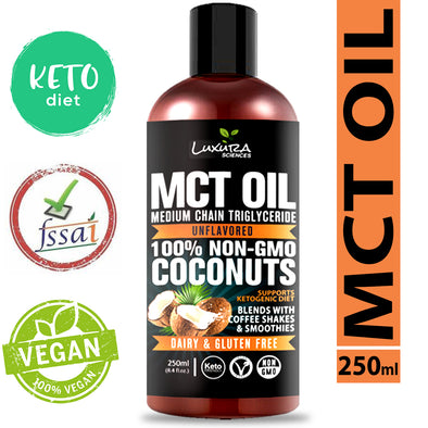 Luxura Sciences MCT Oil Organic 250 ml, MCT Keto Oil 100% Premium Grade A Oil Bottle.