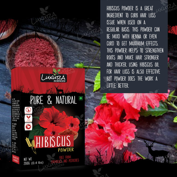 Luxura Sciences Hibiscus Powder For Hair Growth 200 Grams, Hibiscus Flower Powder Natural.