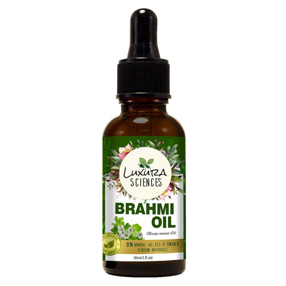 Luxura Sciences Organic Brahmi Oil For hair growth, hair conditioning, dandruff and dry scalp | Herbal scalp treatment. 30 ML
