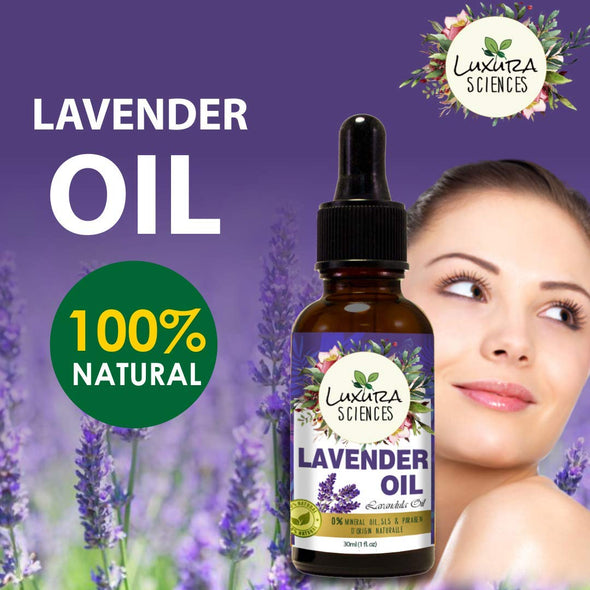 Luxura Sciences Organic Lavender Essential Oil (100% PURE & NATURAL - UNDILUTED) Therapeutic Grade Perfect for Aromatherapy, Relaxation, Skin Therapy,Headache, Pain, Meditation, Anxiety
