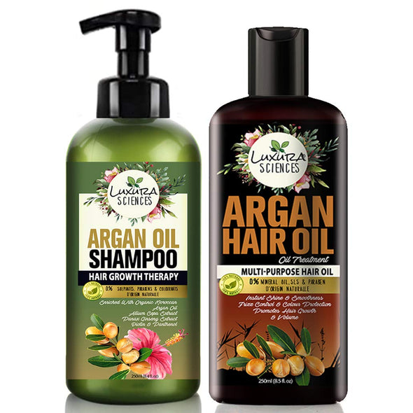 Luxura Sciences Argan Oil For Hair Growth 250Ml & Argan Oil Shampoo 300Ml Bottle Combo