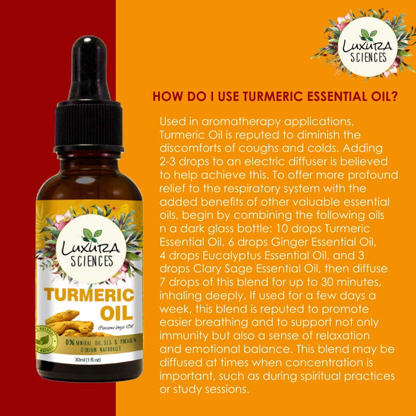 Luxura Sciences Wild Turmeric Essential Oil- A Renewed Beauty, Free From The Signs Of Aging - 100% Pure Therapeutic Grade Turmeric Oil