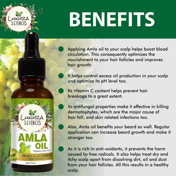 Luxura Sciences Organic Amla Oil for Hair Growth,Pure, Unrefined, Non-GMO - Great For Skin - Anti-aging - Treatment For Itchy Scalp, Prevents Dandruff - With Dropper
