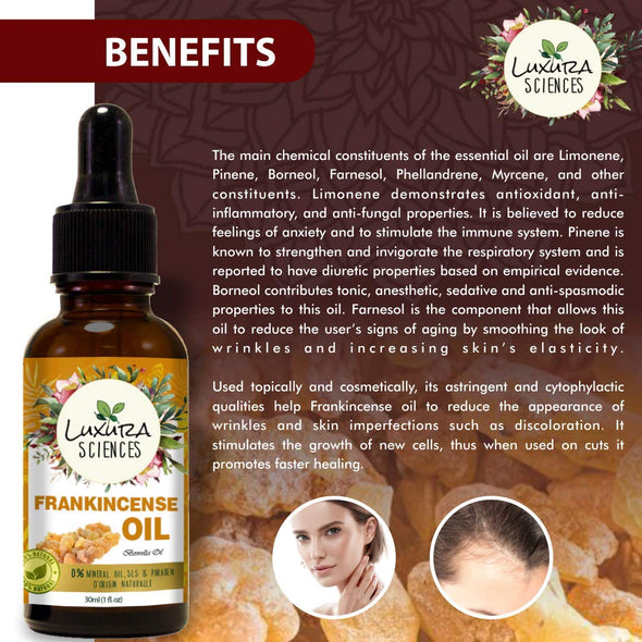 Luxura Sciences Organic Frankincense Essential Oil - Boswellia Serrata, 100% Pure Natural Undiluted, Therapeutic Grade for Aromatherapy | Premium Certified Organic, Non-GMO