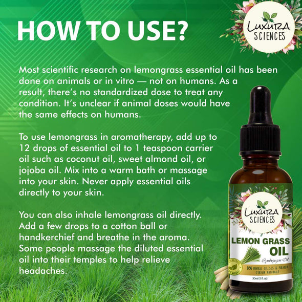 Luxura Sciences Organic Lemon Grass Essential Oil, 100% Pure and Natural with Therapeutic Grade, Premium Quality