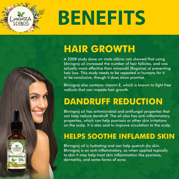 Luxura Sciences Organic Bhringraj Oil For Hair Growth,100% Pure & Natural, Authentic and Premium Therapeutic Grade Oil - Best for Hair Nourishment, Hair Growth & Skin Care.