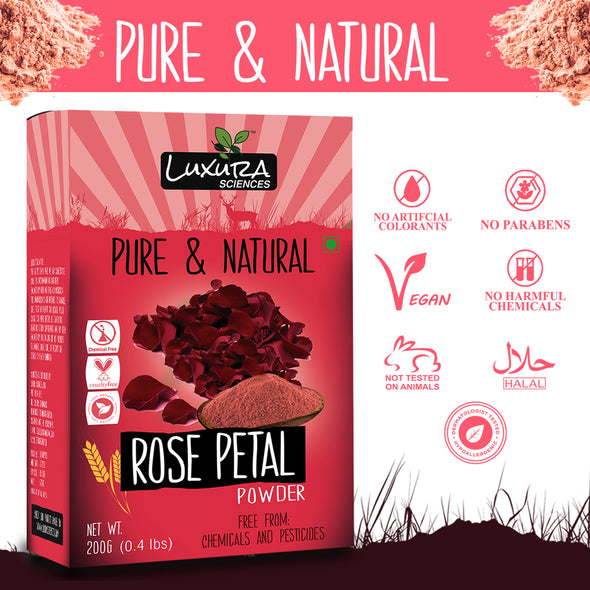Luxura Sciences Natural and Double Filtered Rose Petal Powder For Skin (200 g)