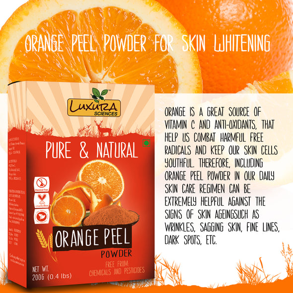 Luxura Sciences Pure Orange Peel Powder For Skin Whitening 200 Grams.