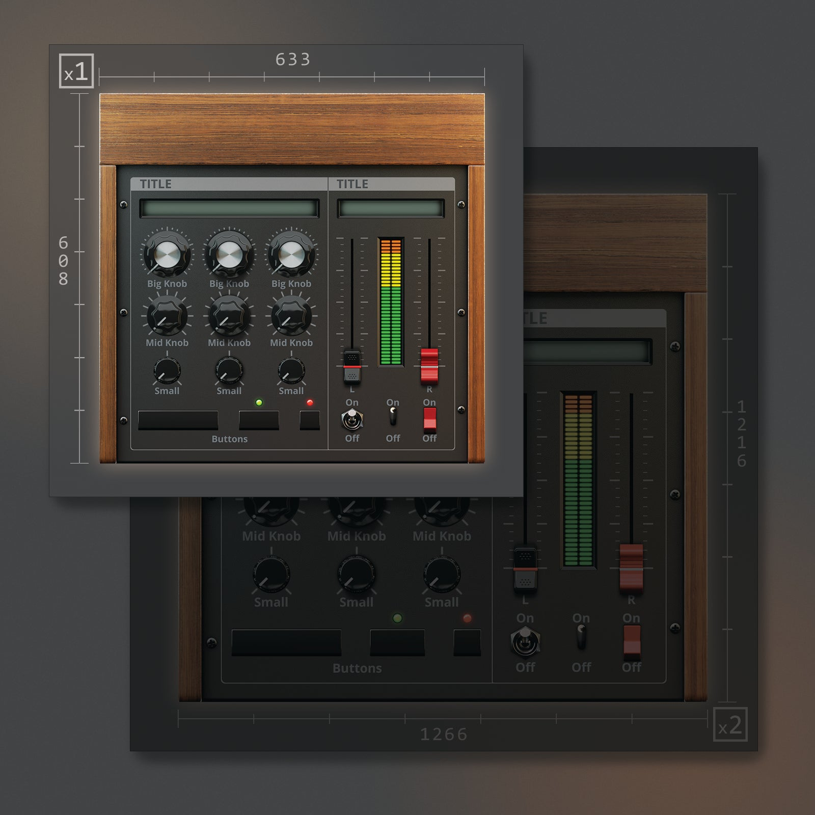 1 resolutions of Moog styled UI template for Kontakt 633x608