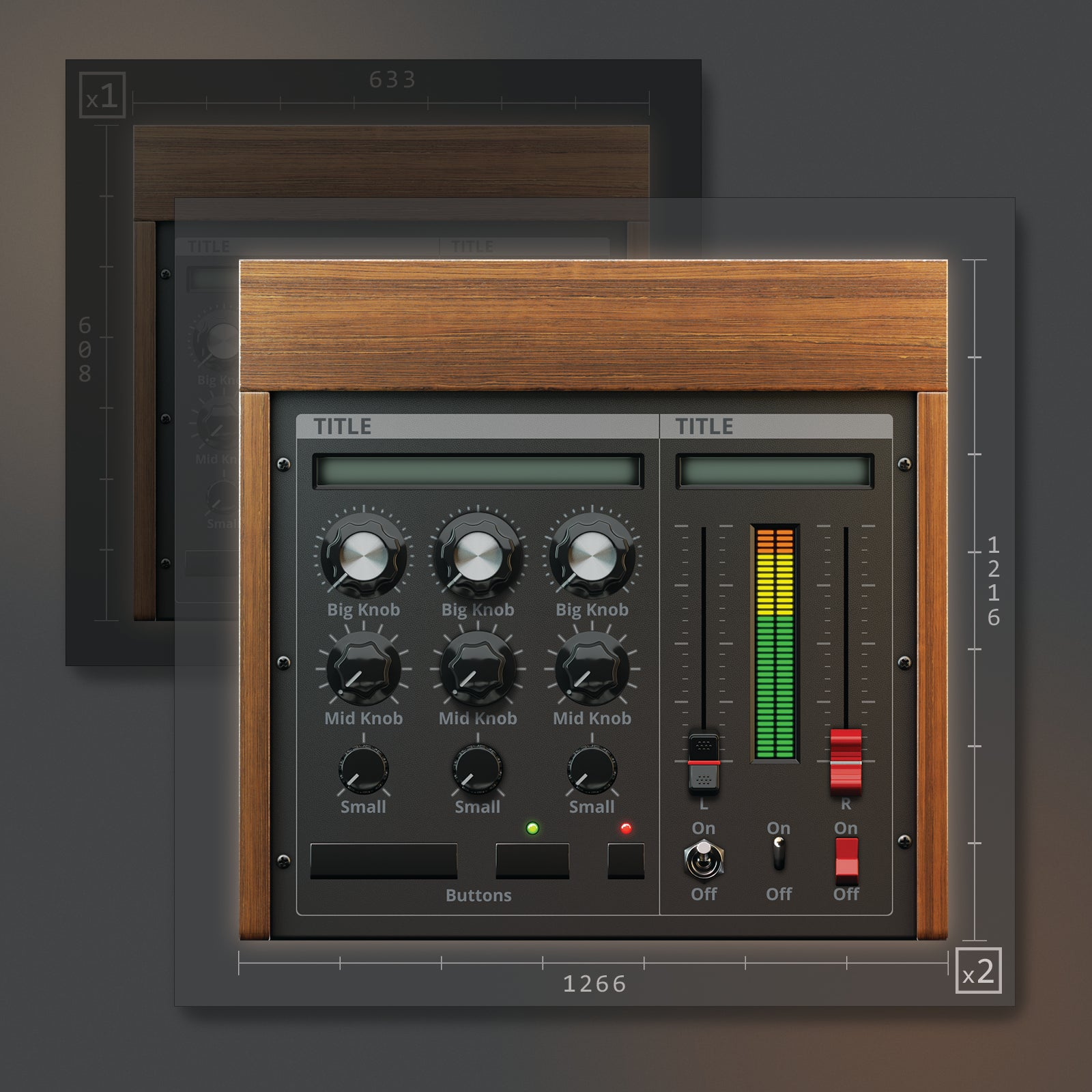 1 resolutions of Moog styled UI template VST 1266x1216
